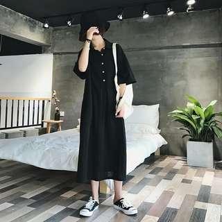 E33987 大碼裝復古百搭中長款連衣裙(單色黑色)