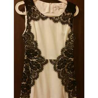 Selling Cheap - Dress (White with Lace Prints at sides)
