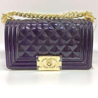 Authentic Toyboy Jelly Pearl 20cm Lady Bag Medium with Stainless Steel Bag Chain Stripe Purple