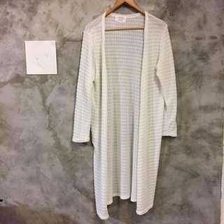 🚚 韓國製 白色針織長版外套 罩衫 半透明 長袖 二手便宜賣