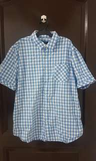 George White and Blue Checkered Polo