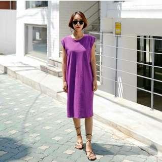 韓 小包袖設計長版棉質背心洋裝