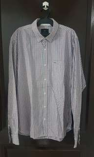 Cotton On Red and Grey Checkered Long-sleeved Polo
