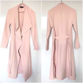 New Look Waterfall Tie Waist Coat - Shell Pink