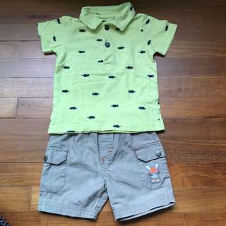 Baby carters polo set with orchestra shorts