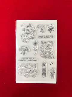 New year Lion dance scrapbook Clear Stamp