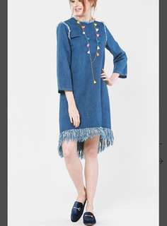 Da-Xia Fringed Hem Dress in Blue