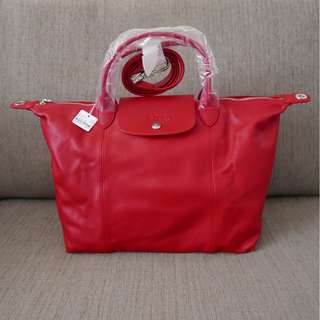 Authentic Longchamp Le Cuir Medium SH Bag Red with Tag and Receipt