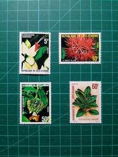 1980 象牙海岸 花卉 新票一套