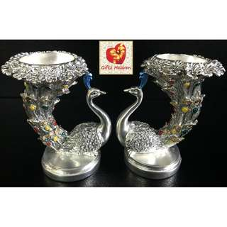 🚚 Silver Plated Peacock Candle Holder Set.