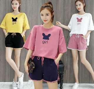 80690 #新款上衣+短褲休閒 兩件套  颜色: 黄色 紫色 粉红色   尺码: S M L XL XXL