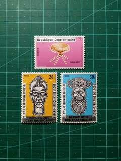 [贈品]1980 中非共和國 加蓋國名郵票 新票三枚