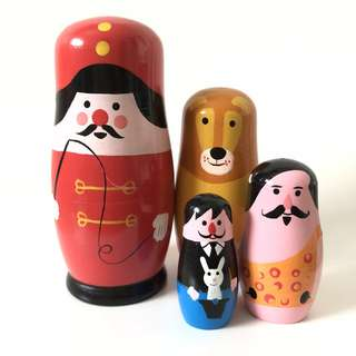 Zakka 4 pieces circus wood nesting Russia dolls