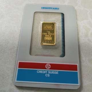 Credit Suisse Gold Bar 1g