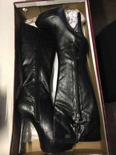 High Black leather boots
