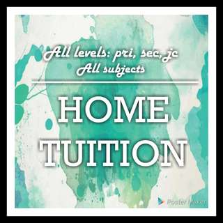 Primary, Secondary and JC home tuition