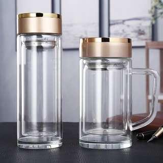 Ready Stock! Quality Heat Resistant Double Wall Glass Tea pot Cup Mug Bottle Anti Slip Bottom