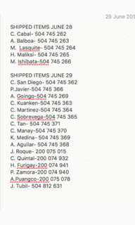 SHIPMENTS AND TR NUMBERS