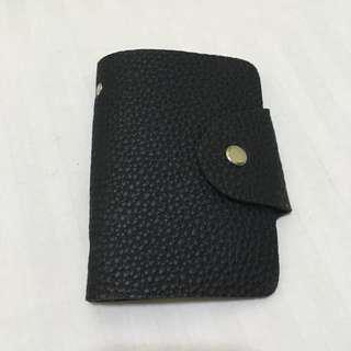 Faux Leather Black Card Holder