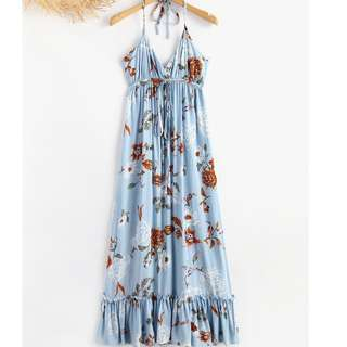ZAFUL ON HAND HALTER FLORAL MAXI DRESS - SKYBLUE