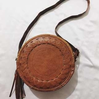 Round Tassel Bag in Brown
