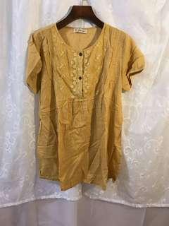🚚 黃色復古棉麻上衣