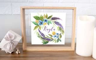 Watercolour Lavender wreath with custom name