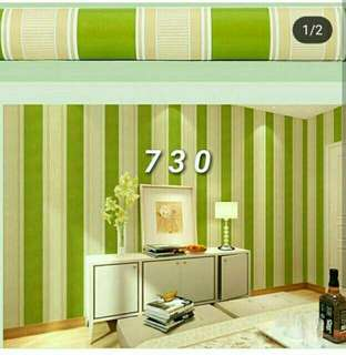 Wallpaper Sticker Dinding 10 Meter - Motif Garis Hijau