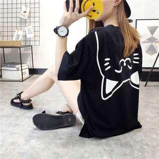 🚚 【貝莉潮流】(關注+愛心贈贈品)短袖T恤🎁春夏季韓版學生圓領寬鬆中長款貓咪短袖T恤