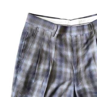 🚚 顛復古⚡️日本製復古特別百搭灰藍色系古著格子褲❤️男女皆可