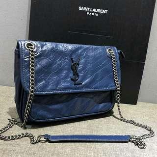 Saint Laurent Niki Chain Shoulder Bag Blue Color