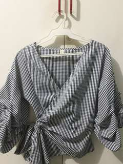Blue checkered wrap top