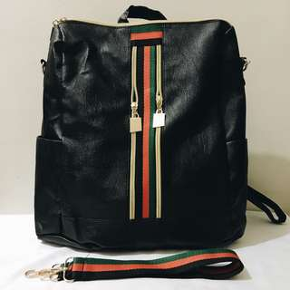 Striped Two-Way Backpack