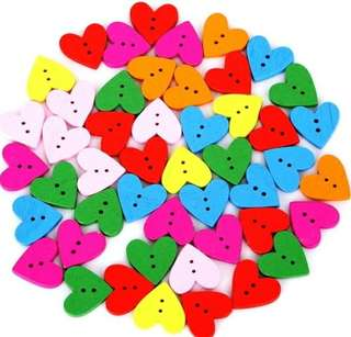 2 Holes Multicolor Heart Wooden Decorative Buttons (Scrapbooking/Sewing)