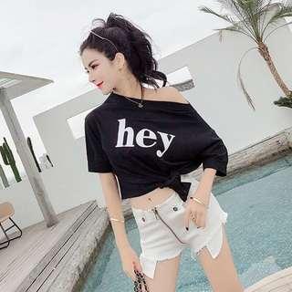 🚚 韓版氣質百搭不規則短袖T恤短版上衣超短褲熱褲
