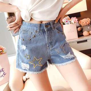 🚚 【貝莉潮流】(關注+愛心送贈品)牛仔短褲🎉2018夏裝新款韓版高腰chic休閒褲破洞熱褲牛仔短褲
