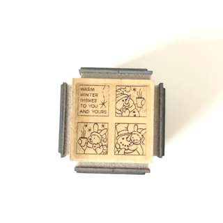 Christmas Wood 4 sides rubber stamps