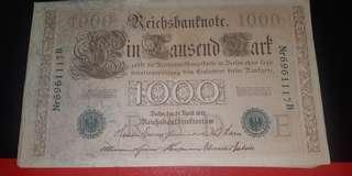 1910年德國馬克,VF品相,大大張,無穿無爛,$100/5張