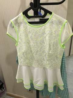 White and neon top