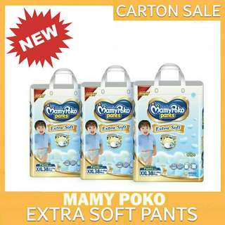 NEW MAMYPOKO EXTRA SOFT PANTS CARTON OF 3 PACKETS SALE SIZE M L XL XXL (FREE DELIVERY)