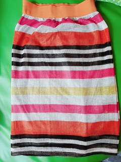 Rok cantik orange motif garis