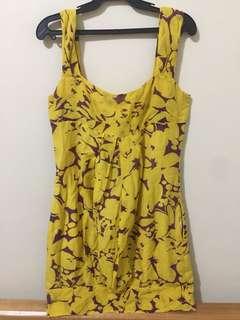 Yellow patterned sleeveless summer dress