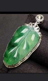 🌸18K White Gold - Grade A 冰种 Icy Spicy Green Floral Leaf 事业有成, 一夜成名, 一夜暴富 Jadeite Jade Pendant🍍