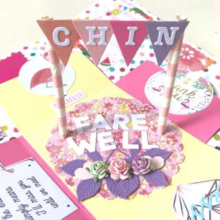 🚚 Farewell handmade flamingo Explosion Box card