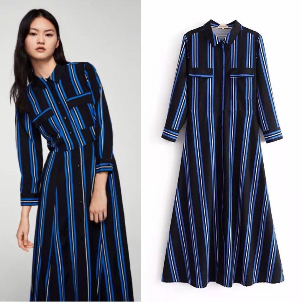 72d411454d 2018 European Station Striped Long Sleeve Shirt Maxi Dress Women's ...