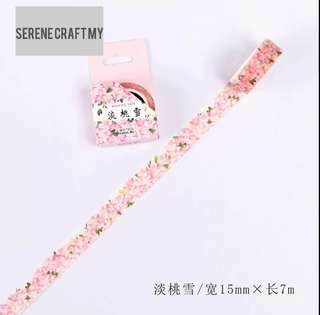 7m Pink Blossom Flowers Washi Tape