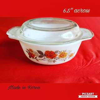 Vintage Made in Korea pyrex dish with cover, small, refer to photo for size. Good  Condition, unused. $10 Offer. sms 96337309.