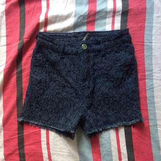 High Waist Laced Short Folded and Hung