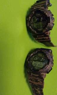 Casio 罕有軍綠色迷彩Gshock手錶(兩隻1000元)
