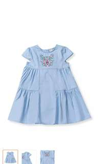 Poney Short Sleeve Blue Dress 2-3Y